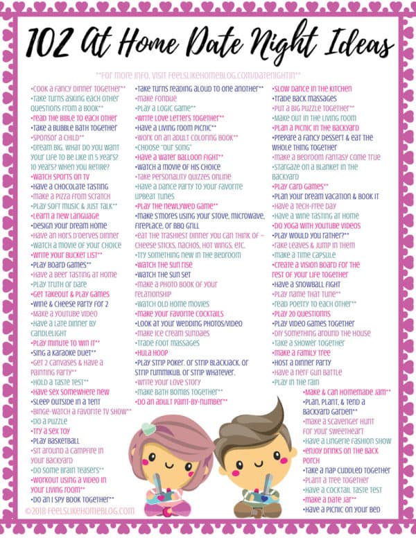 At home date night ideas for married couples or boyfriends and girlfriends. This ultimate list of romantic, fun, and creative DIY date suggestions are simple ways for parents and others to enjoy quality time together and build a healthy relationship. Includes easy tips and a free printable to help you save money.