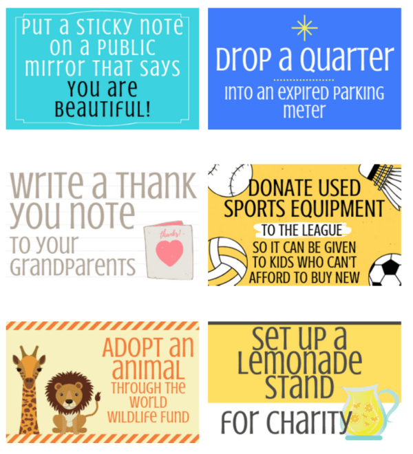 A collage of random acts of kindness for kids cards