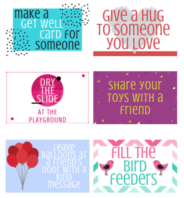 """picture relating to Kindness Cards Printable called 60 Random Functions of Kindness for Children Feels Including Homeâ""""¢"""