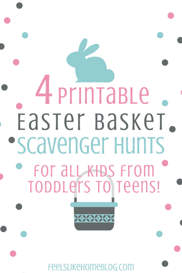 picture relating to Printable Easter Basket named 4 Absolutely free Printable Easter Basket Scavenger Hunts for Youngsters of