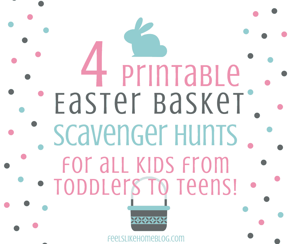 Free printable active Easter basket scavenger hunt for Easter morning - A treasure hunt is a great way to find your Easter basket. These hunts for little kids and non-readers, big kids, tweens, and teens use pictures, rhymes, and riddles as clues. Awesome active fun for toddlers, preschoolers, kindergarteners, elementary kids, middle schoolers, high schoolers, tweens, and teens. Great for families at home. Non-religious and Jesus-centered. Easy and challenging clues using both indoor and outdoor spaces.