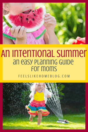 An Intentional Summer - Unique DIY summer planner for moms. Includes calendar pages, goals, bucket list, free cheap and frugal activities and other printable pages. Resource pack has lots of questions to guide your planning for the whole summer. Best resource for moms in the summer!