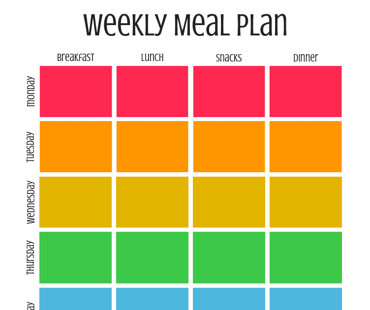 Free meal planning template printable - This weekly breakfast lunch dinner snacks calendar will help you to save money by planning what you'll eat ahead of time. Simple and easy ideas for organizing your menu in a binder for one, two, or families.