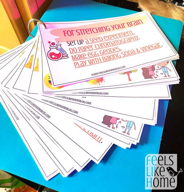 A close up of an activity cards
