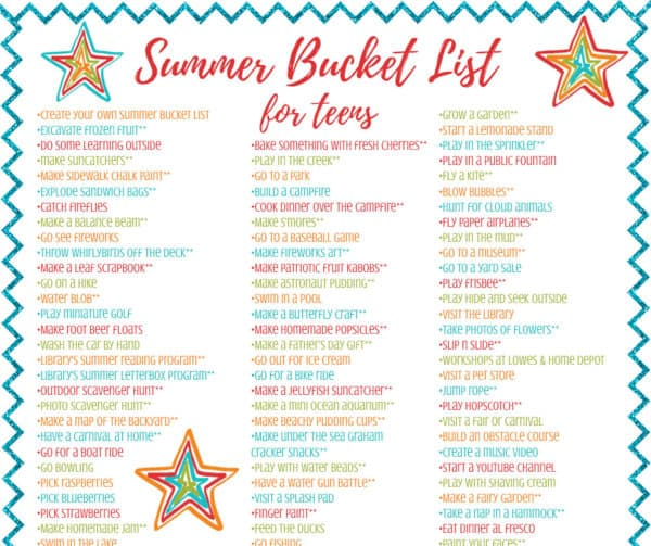 photograph about Bucket List Printable known as Summertime Bucket Checklist for Tweens Teenagers - Cost-free Relatives
