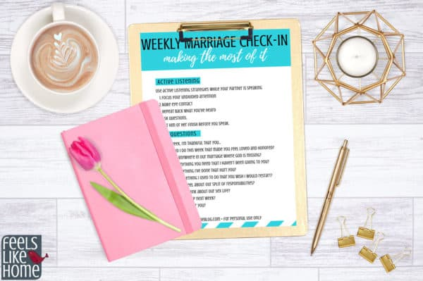 Use these marriage check in questions for your next marriage check up. Whether you have a daily, weekly, or monthly checkup, these insightful questions will be useful. To learn how to have a marriage checkup with your spouse, just click on the image for my step-by-step guide.