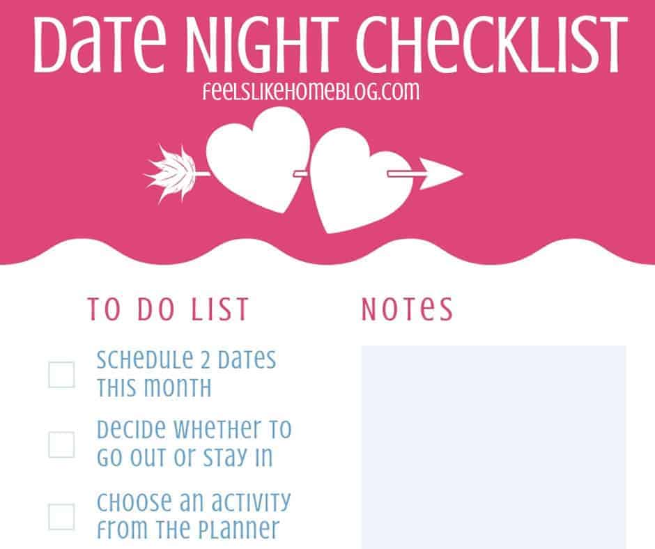 Date Night Planning Checklist - This easy planning printable will make sure you don't forget anything as you plan for your big date night. Good for any couple but especially those in a marriage with kids. Free printable with a link to a bucket list and lots of ideas for what to do when you're going out or staying in.