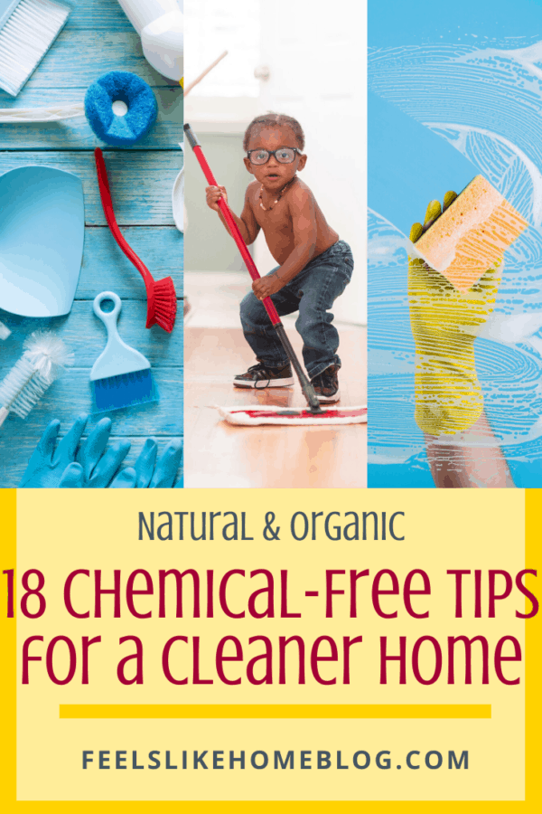 18 Natural, Organic, & Chemical-Free Tips and Tricks for a Cleaner Home - These quick, simple, hacks will make housework easy. Make housekeeping quick in the kitchen and bathroom. Safe DIY for working moms with pets, cats, or dogs. Kids will be able to help. The best cleaning products with a wonderful smell. Ideas for grease and hard water stains.