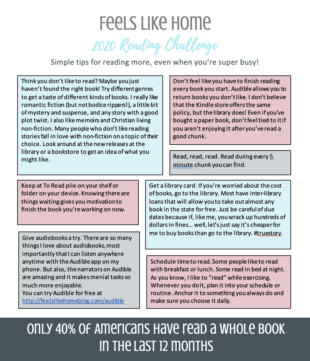 Free 2020 reading challenge for adults - Great list of book ideas and tips for reading more. Includes free printable chart and bookmarks. Perfect for a month or for 52 weeks of the year.