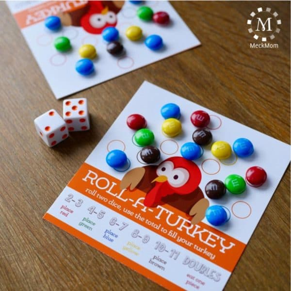 roll a turkey thanksgiving games for familie