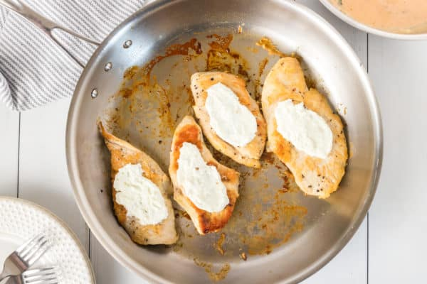 goat cheese on chicken