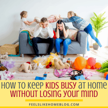Frustrated parents with a messy house