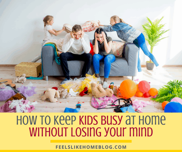Frustrated parents with a messy house and naughty kids
