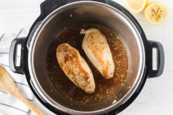 Cooked chicken breasts in the Instapot