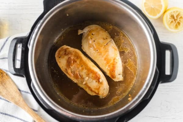 Cooked chicken breasts in the Instant Pot
