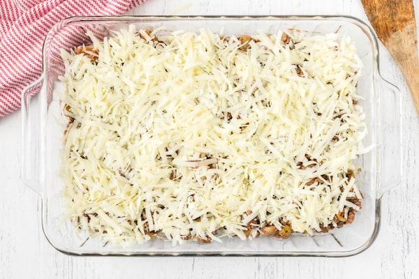 popover pizza casserole recipe ready to go into the oven