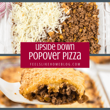 This popover pizza recipe is a twist on an upside down pizza with a golden popover crust hiding a flavorful filling of meat, sauce, vegetables and cheese.