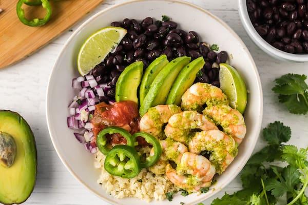 cilantro lime shrimp burrito bowl