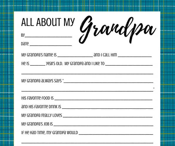 A close up of the All about my Grandpa printable on a white background