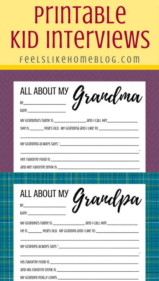 A close up of the All about my Grandma and Grandpa printables on a white background