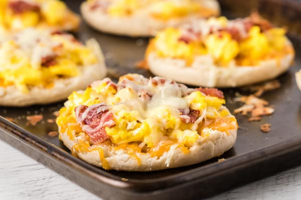 one breakfast pizza on an English muffin