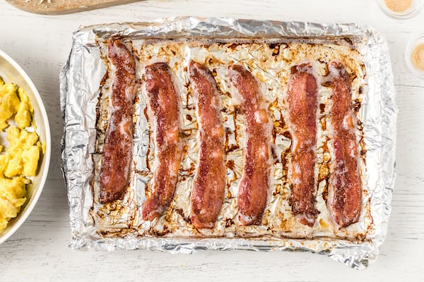 when the bacon is crisp, remove it from the oven