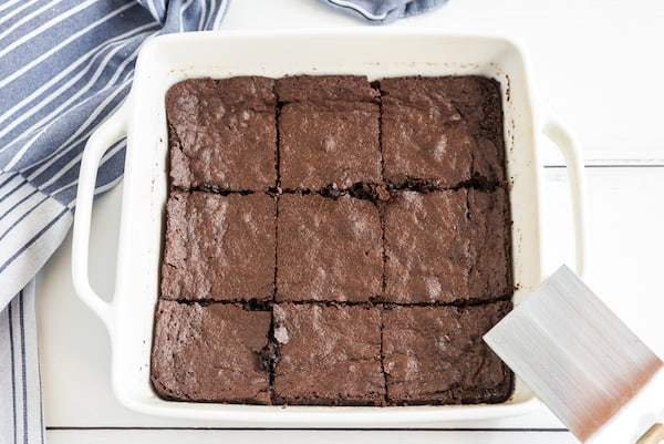 cocoa powder brownies cut in the pan