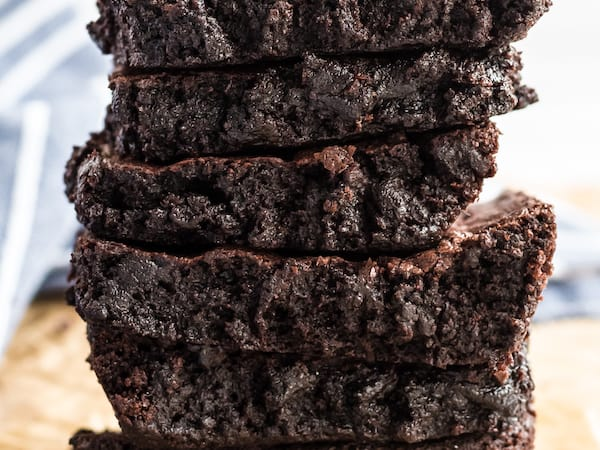fudge brownies in a stack