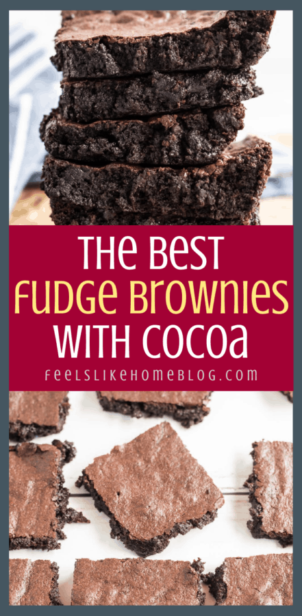 a collage of fudge brownies with cocoa powder