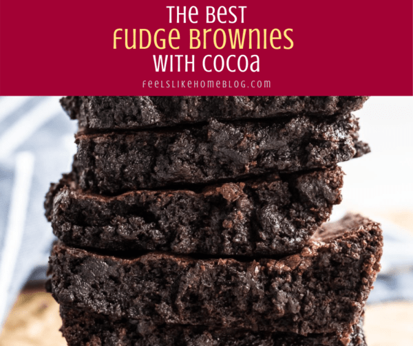 a stack of fudge brownies on a cutting board