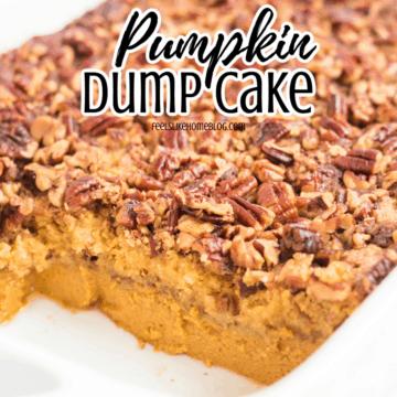 pumpkin crunch cake in a baking dish