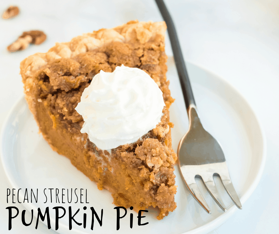 pumpkin pie and pecan streusel topping with whipped cream